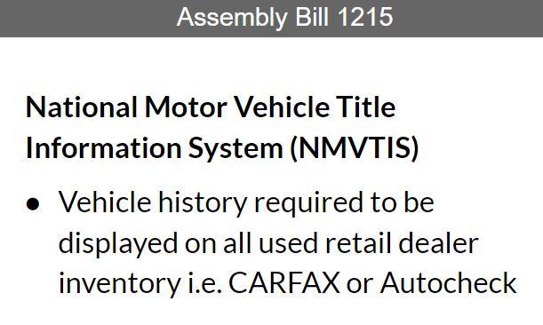 National Motor Vehicle Title Information System history report (NMVTIS)
